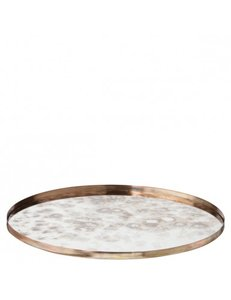 YAYA HOME ROUND VINTAGE LOOK MIRRORED TRAY SMALL H000005