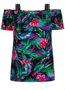 TRAMONTANA TOP TROPICAL PRINT BLACK RUFFLE D15-91-401