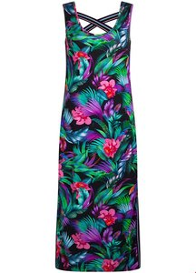 TRAMONTANA DRESS TROPICAL PRINT BLACK STRAPS D15-91-501